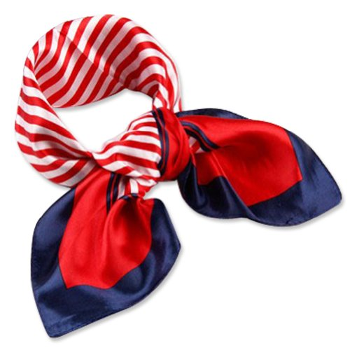 Neck Square Scarf Cool Silk Feel Red White Blue Bandana