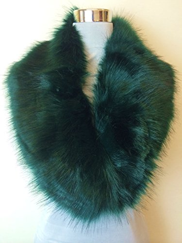 new dark green gorgeous fluffy faux fur collar stole wrap