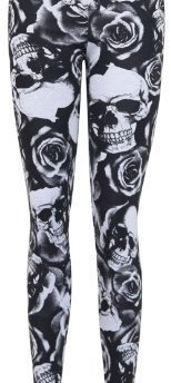 New Plus Size Ladies Skull Floral Print Womens Long Black Stretch Pants Leggings