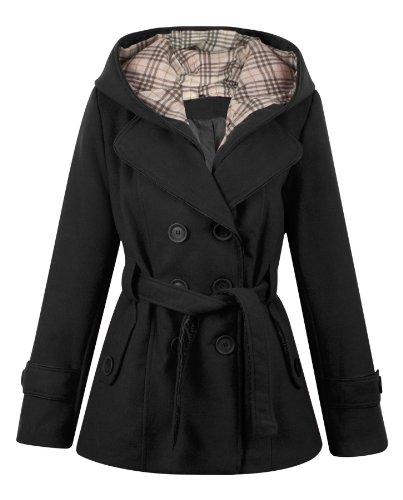 Ladies Black Mac With Hood, Ladies Black Wool Trench Coat Uk
