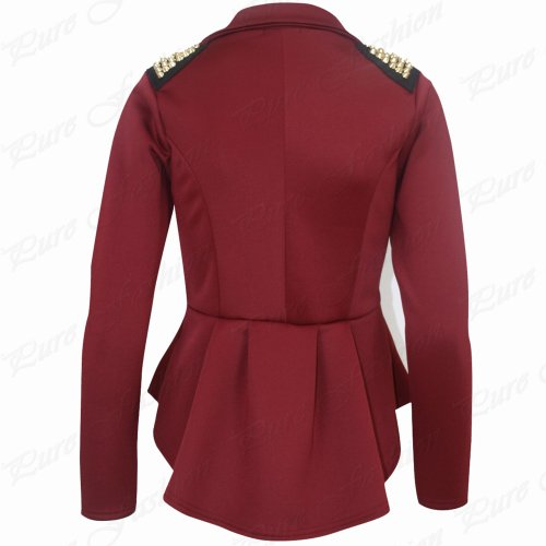 New Womens Ladies Long Sleeves Spikes Peplum One Button