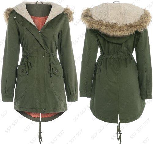 8a40e4fc6ad OVERSIZED HOOD Fishtail Parka Coat Sizes 8 - 16 (12) - Top Fashion Shop