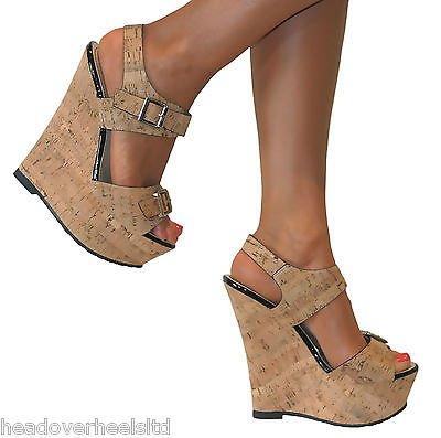 Nude High Cork Toe Wedge Platform Me Heel Perfect Ladies Peep 76bgfy
