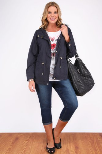 Plus Size Womens Lightweight Parka Jacket With Hood And