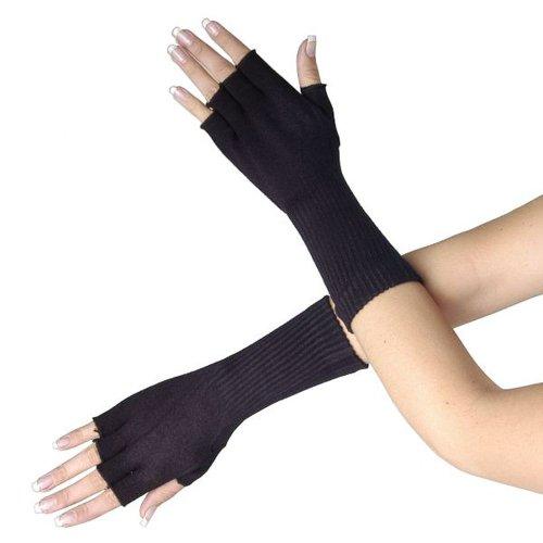 Queen Of Darkness Long Black Fingerless Gloves Top