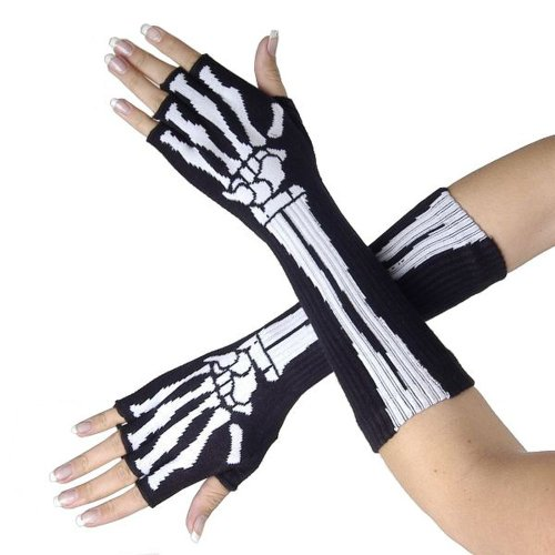 Queen Of Darkness Long Fingerless Gloves With Skeleton