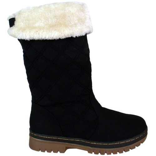 S2a New Womens Ladies Quilted Faux Fur Lined Thick Sole