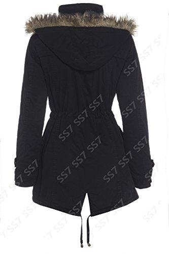 Ss7 Women S Fleece Lined Parka Coat Black Khaki Plus