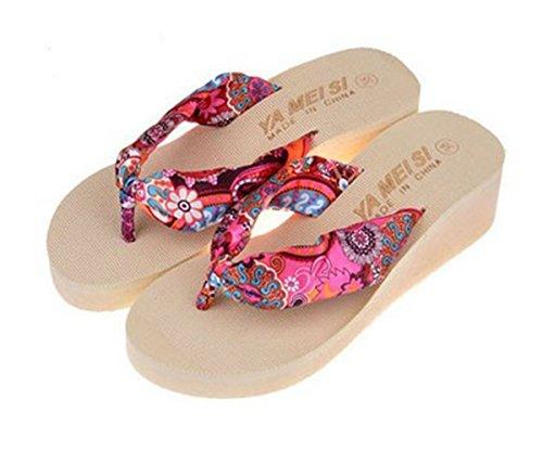 fa231996b4705 Summer Women Bohemia Flower Flip Flops Platform Wedges Sandals ...