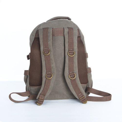 fca0dba332 Troop London Brown Canvas Laptop Rucksack Backpack Bag leather trim ...