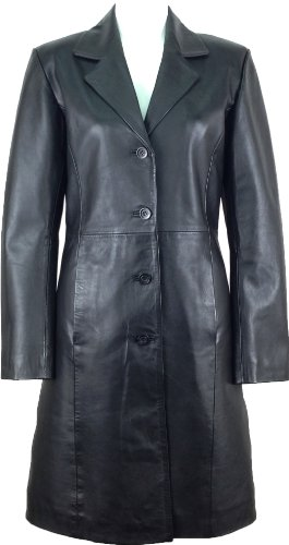 Unicorn Womens Classic Long Coat Real Leather Jacket Black