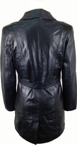 Unicorn Womens Mid Length Coat Real Leather Jacket Black
