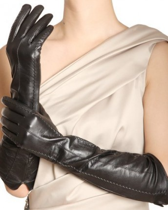 1358b2e4ab349 WARMEN Ladies Opera Long Genuine Soft Nappa Leather Gloves 3 Lines ...