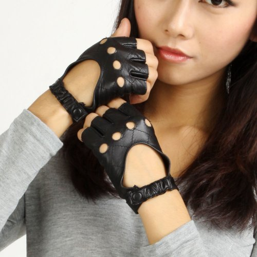 Warmen Women Leather Punk Performance Fingerless Driving
