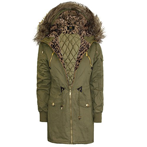 Women Ladies Parka Hooded Quilted Leopard Fur Fishtail