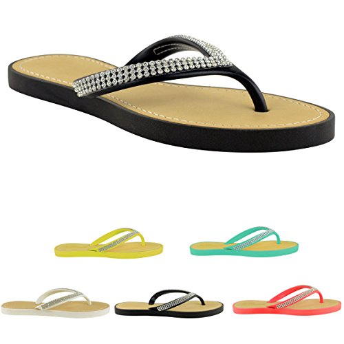 db31c8e8c213 WOMENS LADIES DIAMANTE JELLY SANDALS SUMMER BEACH FLIP FLOPS TOE ...