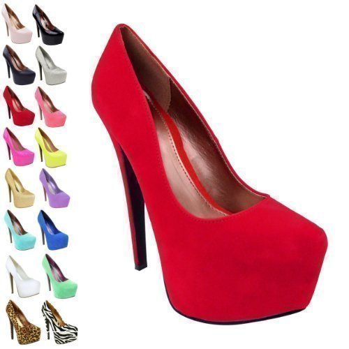f7f5a1a59f3 WOMENS LADIES HIGH HEELS PLATFORM POINTED PARTY CLASSIC COURT SHOES PUMPS  SIZE (UK 6 / EU 39 / US 8, Red Suede)