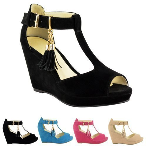 d951ae28c4e WOMENS LADIES MID HEEL PLATFORM WEDGES PEEP TOE STRAPPY SUMMER ...