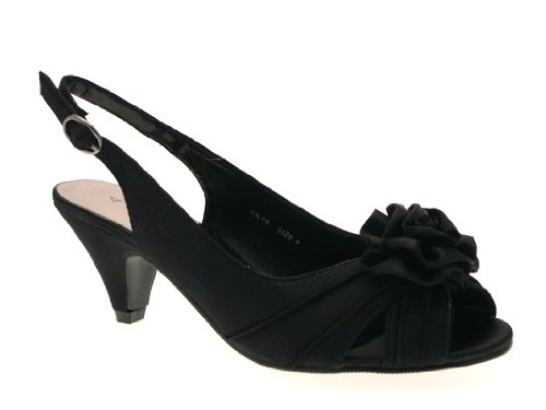 cc9cc8af679 ... EVENING COMFORT SHOES SANDALS LADIES BLACK 6. WOMENS-LOW-HEEL-SATIN- WIDER-FIT-BRIDAL-WEDDING-