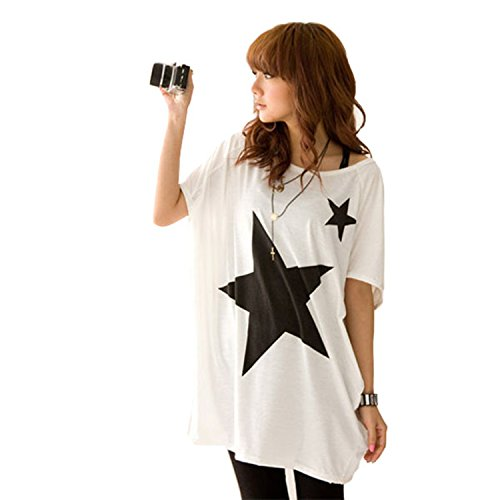 White s 8 10 trendy ladies long loose tops batwing dolman for Trendy t shirts for ladies