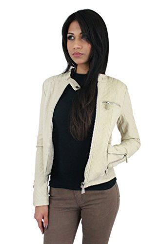 Women Ladies Leather Style Biker Bomber Quilted Jacket 2