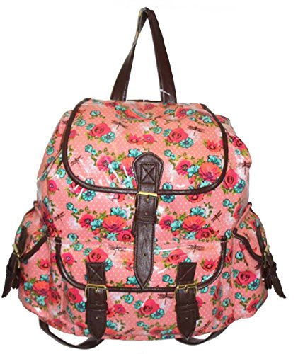 08063abb52 Womens Canvas Oilcloth Backpack Ladies Girls Rucksack School Bag ...