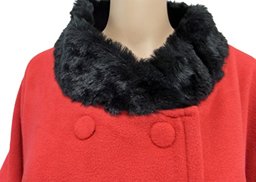 Womens Faux Fur Trimmed Soft Fleece Warm Winter Cape Shawl