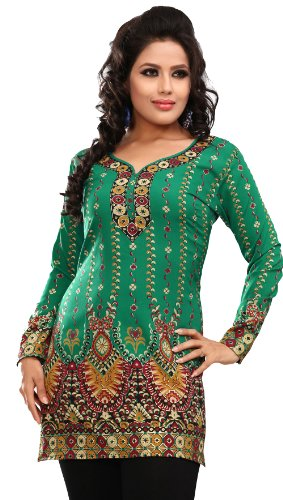 81b802f12de Women s Indian Kurti Top Tunic Printed Blouse India Clothes (Green ...