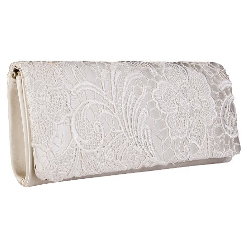 Womens Ivory Satin Ladies Floral Lace Small Bridal Party Evening Clutch Bag Handbag - Top ...
