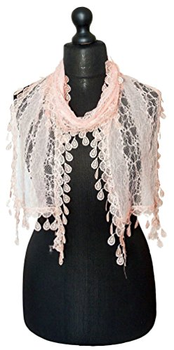 Women S Lightweight Summer Lace Neck Long Scarf Peach