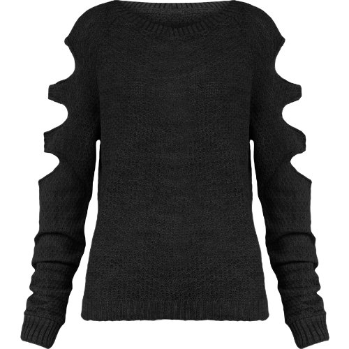 367286b6718 Womens Oversized Jumper Ladies Knitted Cut Out Fine Knit Baggy Sweater Top  8-14 (UK 8-10 S/M, Black)