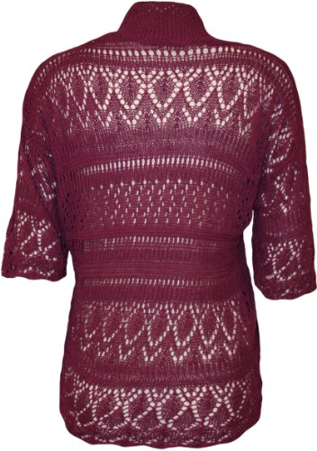 3bc82bb193 Womens Plus Size Crochet Knitted Short Sleeve Ladies Open Cardigan Top –  Magenta – 18-20