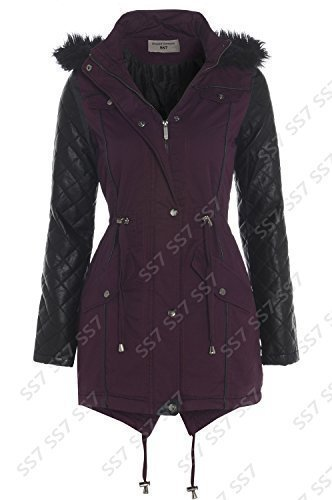 Women S Quilted Pu Sleeve Parka Coat Sizes 8 To 16 Uk