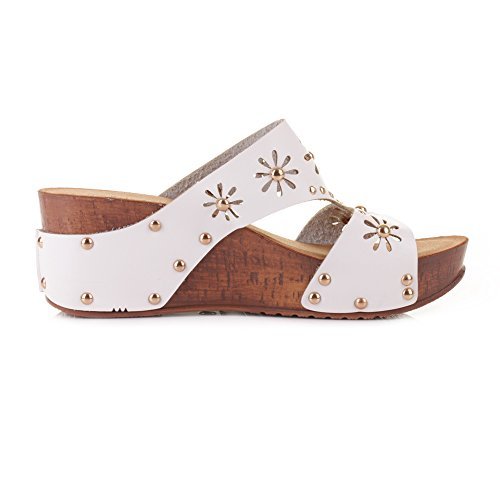 womens slip on mule low wedge white comfortable studded sandals shoe size 6 top fashion