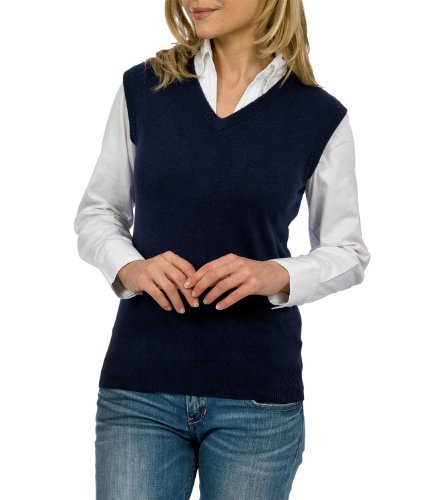 308002572ea Wool Overs Women's Cashmere & Cotton V Neck Slipover Jumper Classic Navy  Large