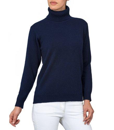 f51313184fd5d1 Wool Overs Women's Lambswool Polo Neck Jumper Navy Medium - Top ...