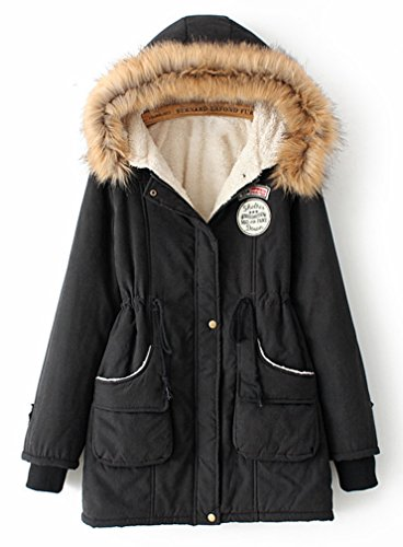 Yasong Women's Girl's Zip Up Military Hooded Faux Fleece Quilted