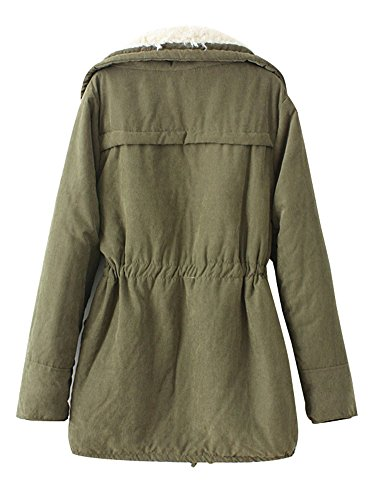 0f033d35bab7e Yasong Women s Girl s Zip Up Military Quilted Padded Faux Fur Lined ...