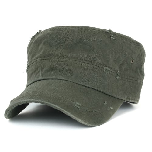 ililily Distressed Cotton Cadet Cap with Adjustable Strap Army Style ... b656c2a7126