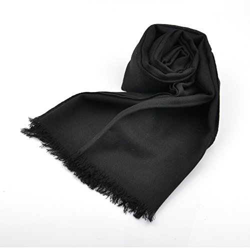 Mens Womens Long Pashmina Fringe Scarf Stole Wrap In Black