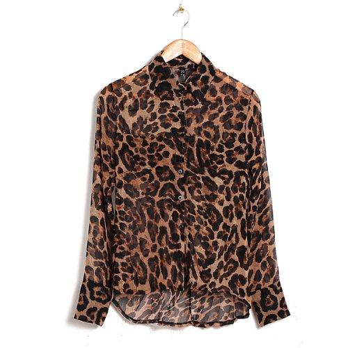 3f0d787ed280fb 14 Sexy Womens Leopard Animal Print Tops Loose Chiffon Shirt Collar ...