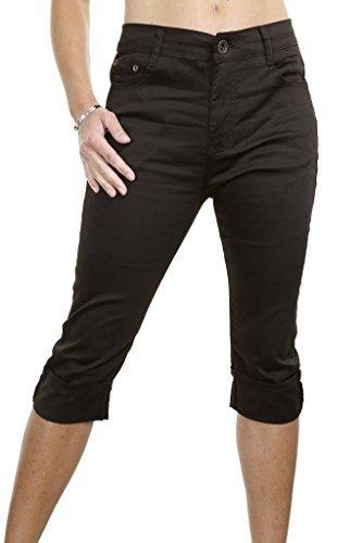 1446 2 Plus Size Stretch Crop Capri Jeans Turn Up Cuff