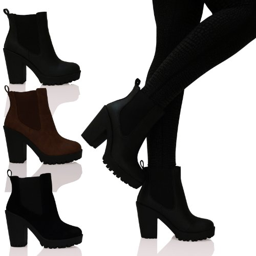 A4H Womens Ladies High Heel Elasticated Panels Pull On Ankle Boots ... 9aee9ebba6