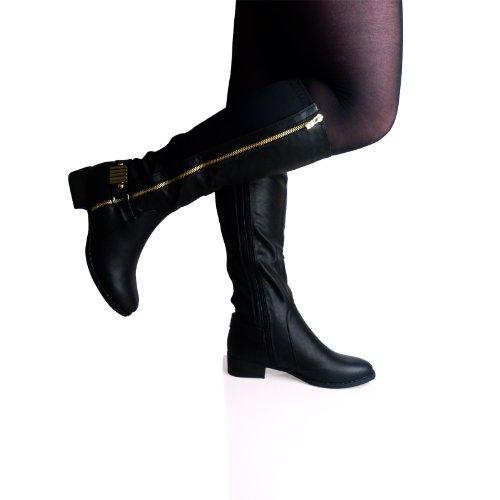 A7k Women Ladies Knee High Wide Fit Low Block Heel Zip Up