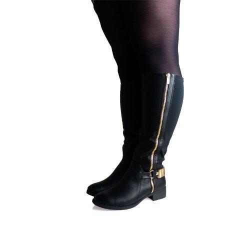 a7k knee high wide fit low block heel zip up