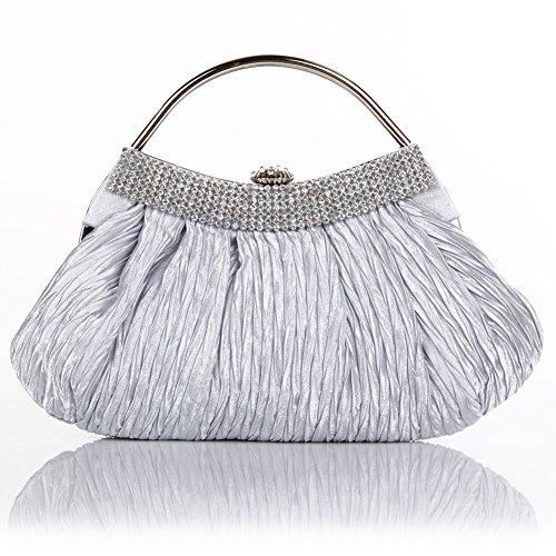 4f575048174f ... Shoulder Bags Handbag Purse Clutch (Silver). ANDI-ROSE -Gorgeous-Silk-Pleated-Wedding-Evening-Designer-