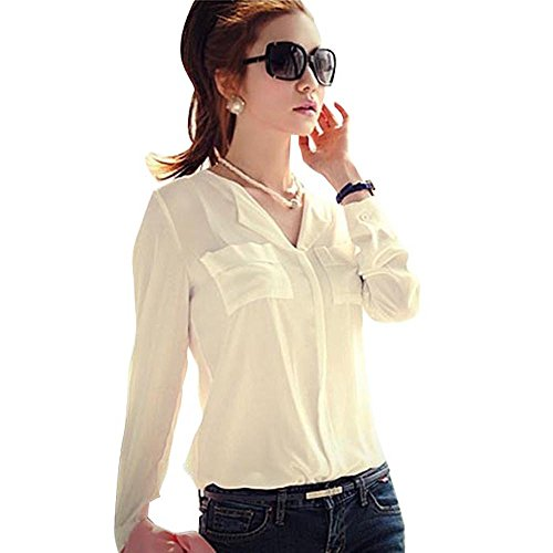 Amonfineshop tm womens long sleeve ol career chiffon for Womens white button down shirt