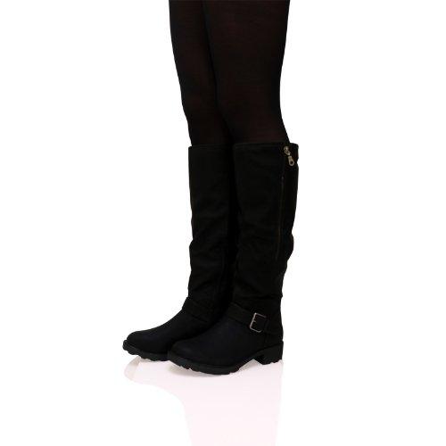 d64c44a37e66a B4G Womens Ladies Knee High Boots Low Flat Heel Zip Up Buckle Detail ...