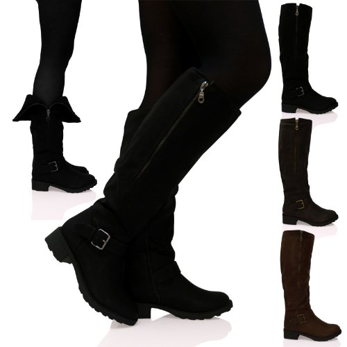 discount up to 60% 100% satisfaction low price B4G Womens Ladies Knee High Boots Low Flat Heel Zip Up Buckle Detail Shoes  Size Blacks Black Matte Size 6 UK