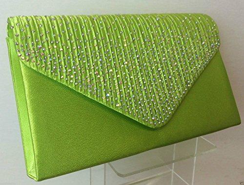 Brand New Lime Green Sparkly Diamante Satin Clutch Bag